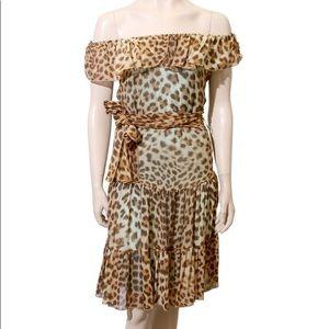 Blumarine Silk Cheetah Print Dress